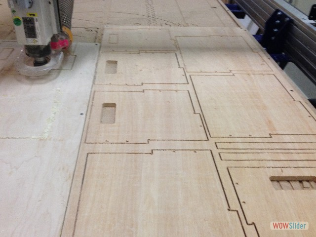 One of the challenges of learning the ShopBot is to fit as many pieces as possible on one sheet of plywood..