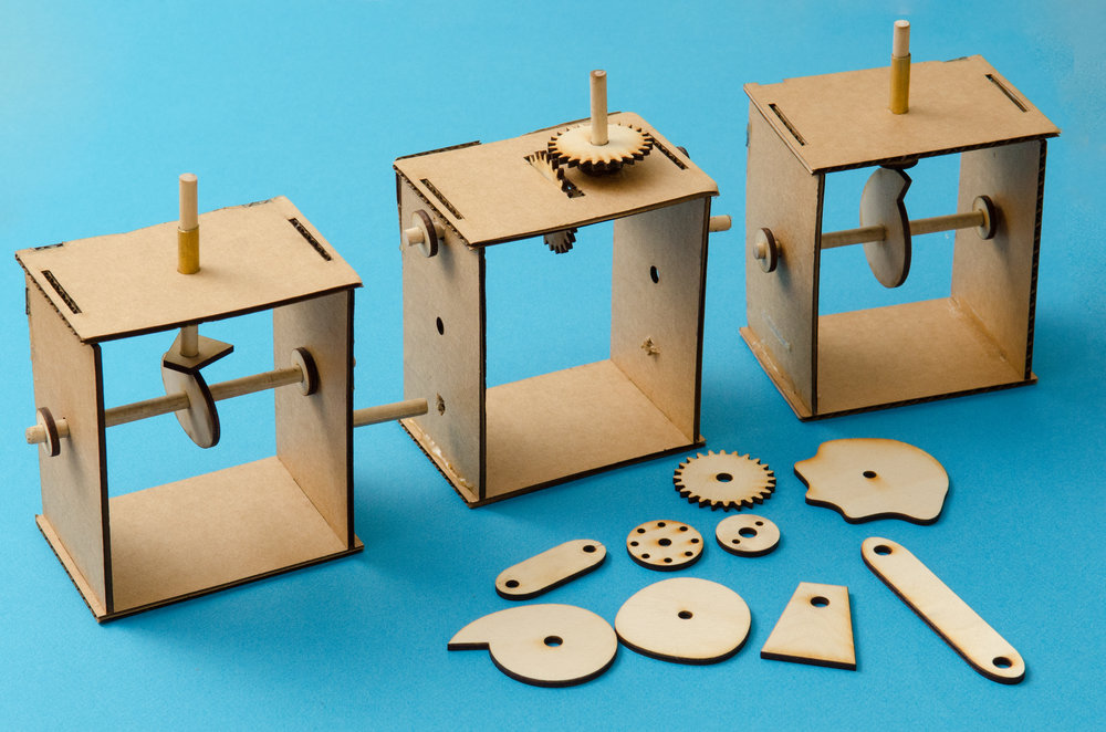 Automata workshop using laser cut cams and gears