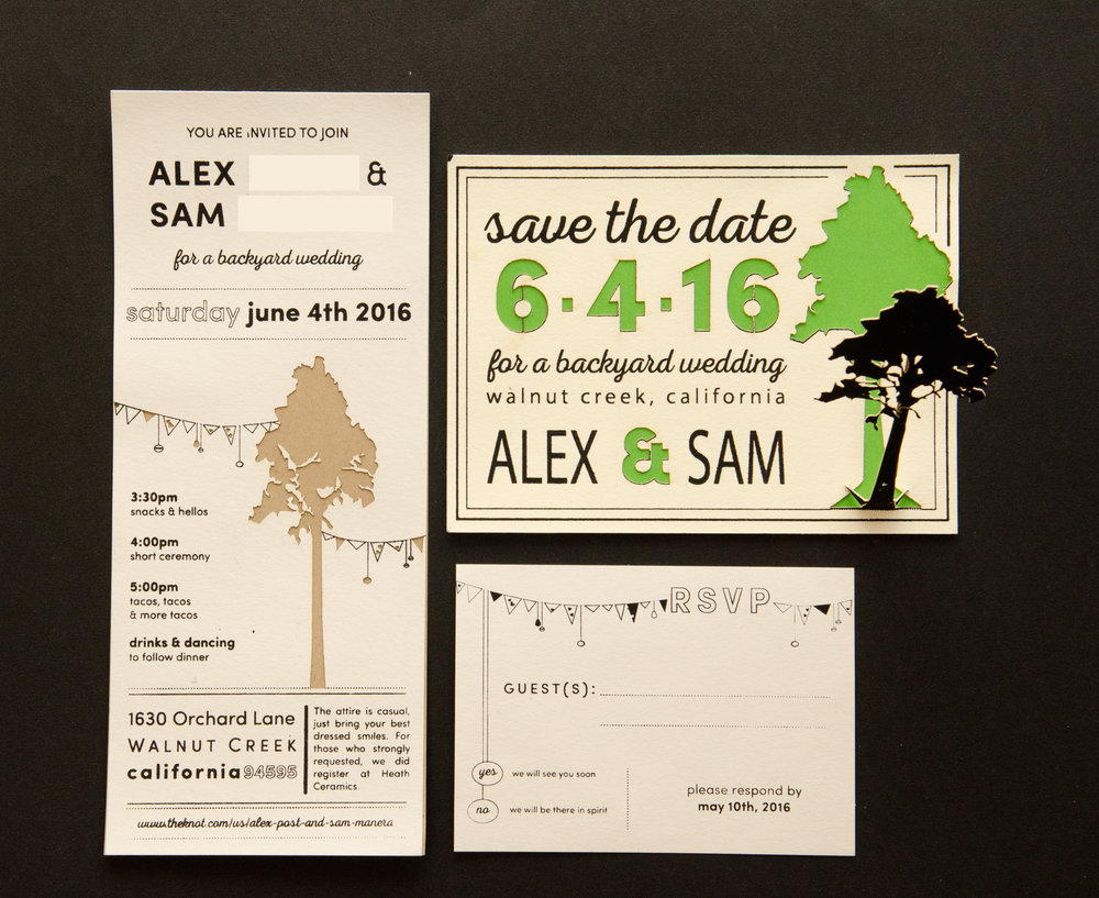 Laser cut and silkscreened wedding invitations