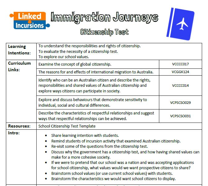Linked Incursions Sample School Incursions Resources School