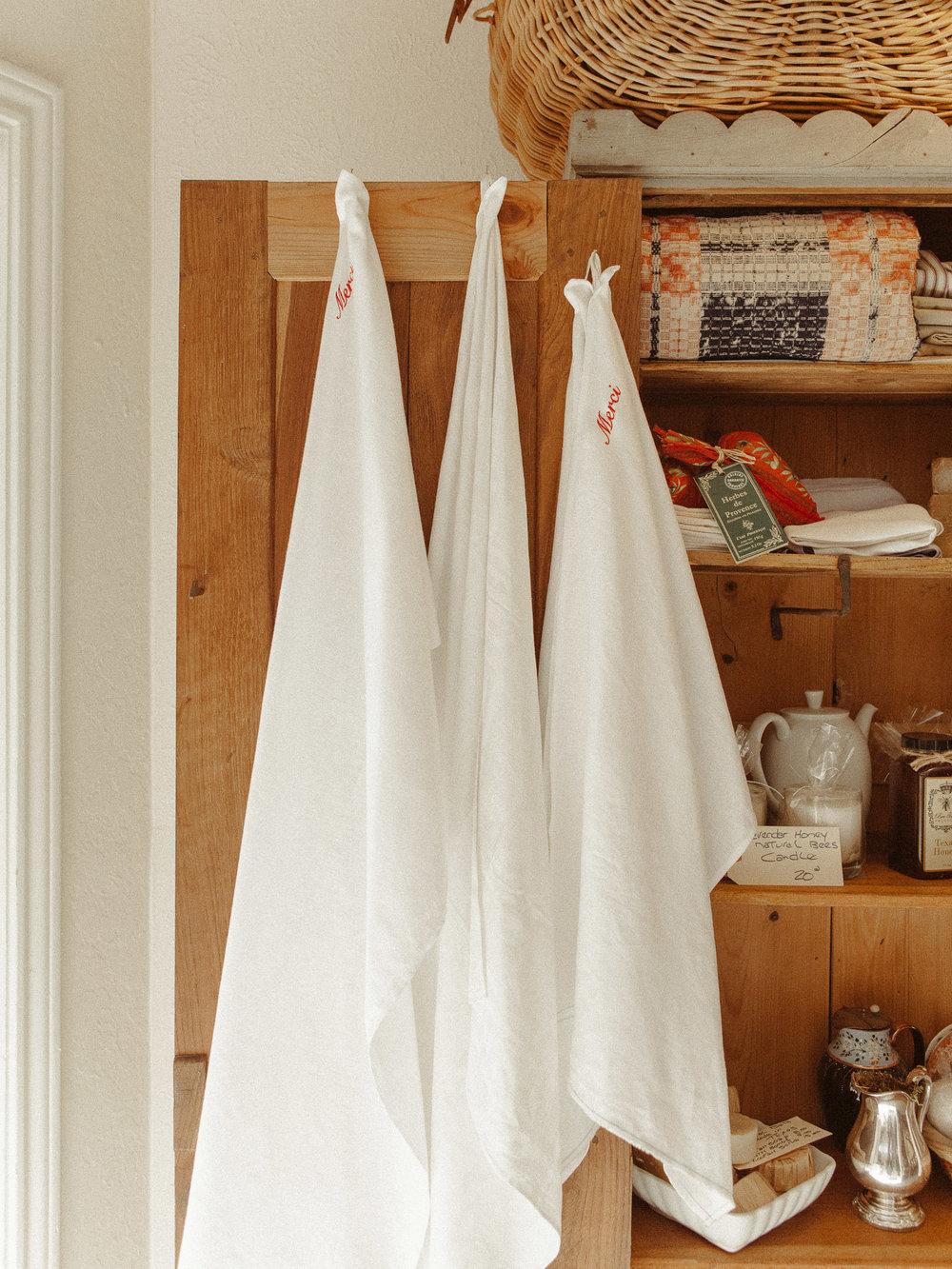 French Linen Long Towel in 'Merci' $30 -