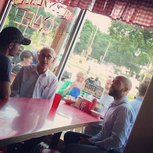 Gubernatorial candidate Tony Evers and Mandela Barnes for Lt. Governor unite for breakfast after last night's primary victories. Young Dems are ready to support this team through November! #takebackwisconsin