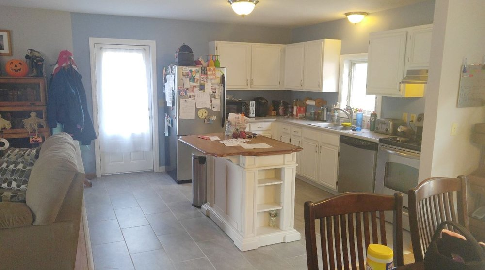 Open Kitchen - After Wall Removed - Oxford, MA