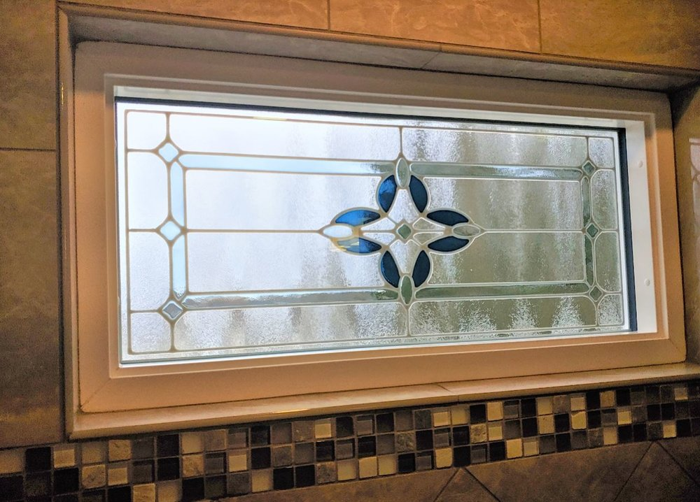Provia stained glass shower window.
