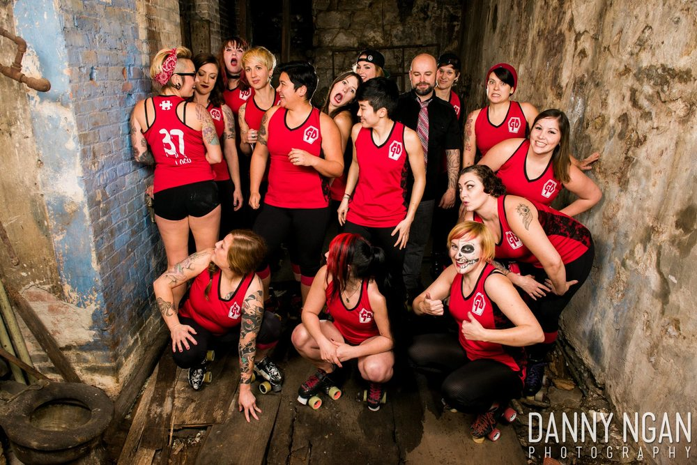 THE GRAVE DIGGER ROLLER DERBY TEAM (PART OF RAT CITY ROLLERGIRLS) UNDERGROUND TEAM PHOTOS