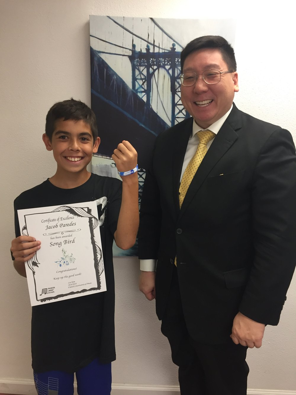 Leo's Student Jacob earned his Songbird Wristband!