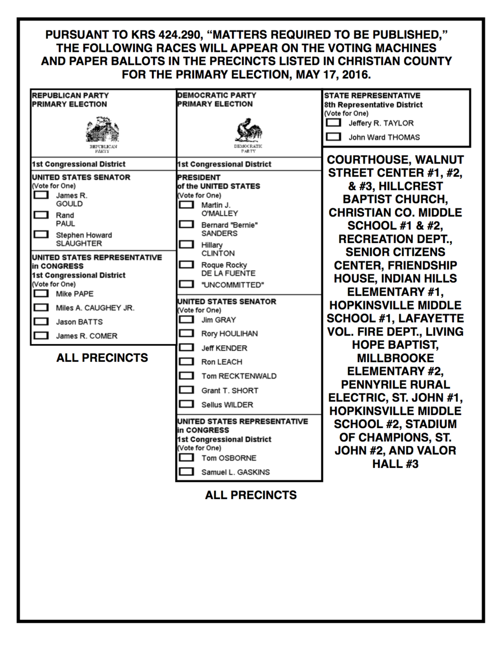 2016 Christian County May Primary Ballot