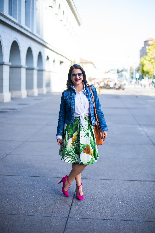 Jacket ,  shirt ,  skirt,  bag,   shoes