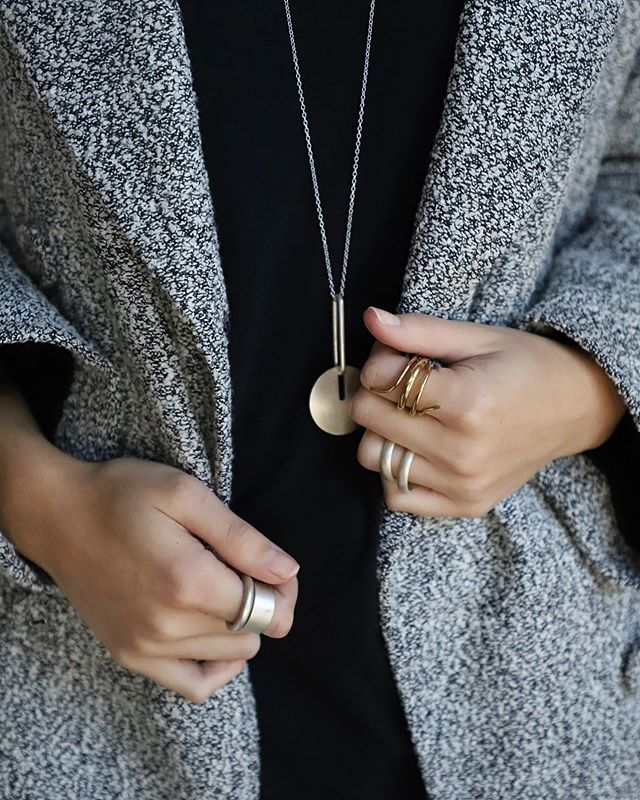 For a second there I thought it was feeling like summer... then came the rain.  Anyhow, enjoying the extra layers while I can. Then it's on to dresses & denim cut offs all day, everyday✨ . . . . . . . #madeinla #madeinlosangeles  #slowfashion #minimal #minimalfashion #essentials #jewelry #bijoux #gemstones #jewelryobsessed #designer #jewelrylover #qualityoverquantity #14k #gold #leather #sinestyle #finejewelry #showmeyourrings