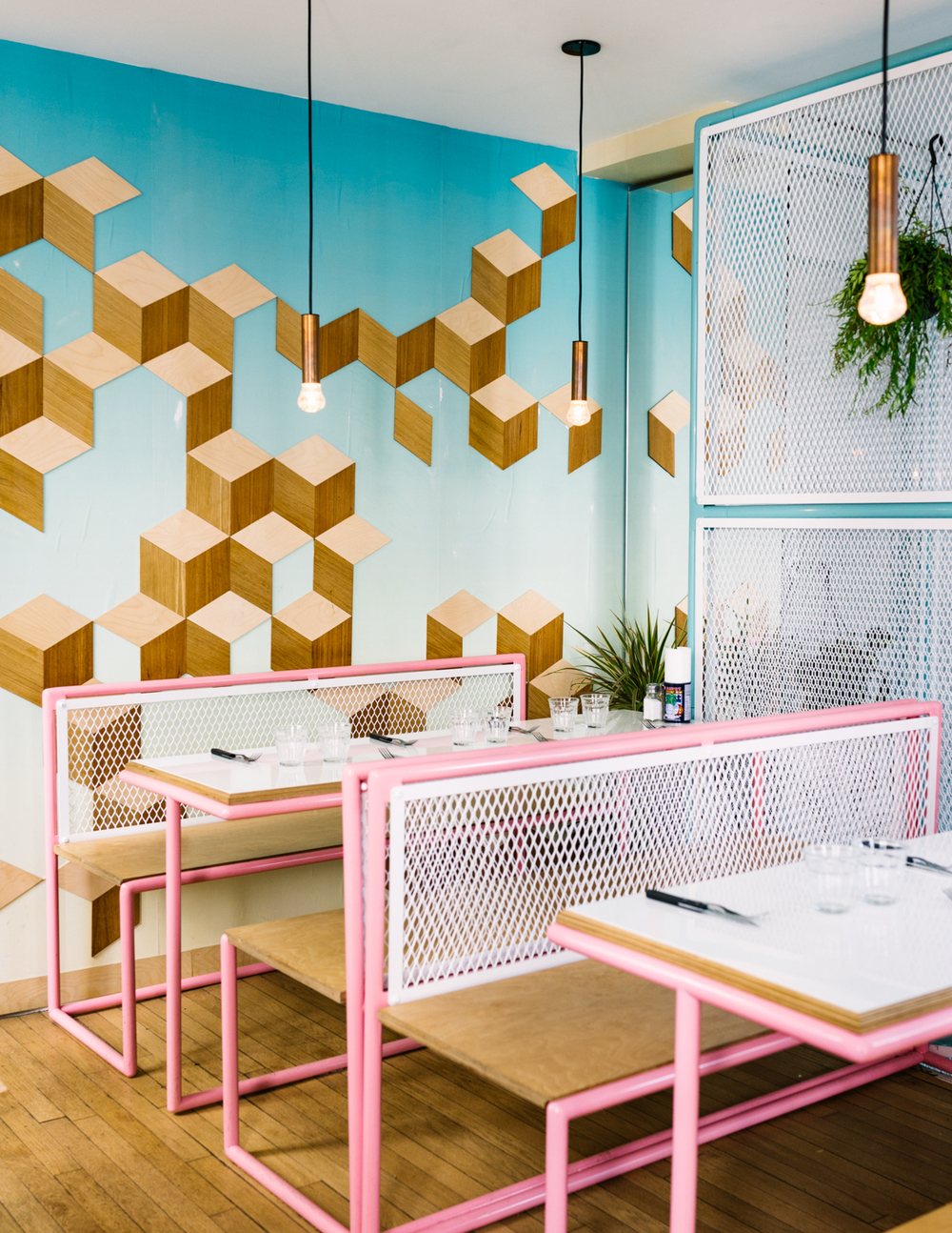 PARIS NEW YORK (MARAIS)   1 Rue Perree, 75003    INSIDER TIP  | Most burger joints in Paris have a very black and white color palate but at Paris New York's Haut Marais location, they brought a fresh look - a bit Miami diner meets Marais cafe.