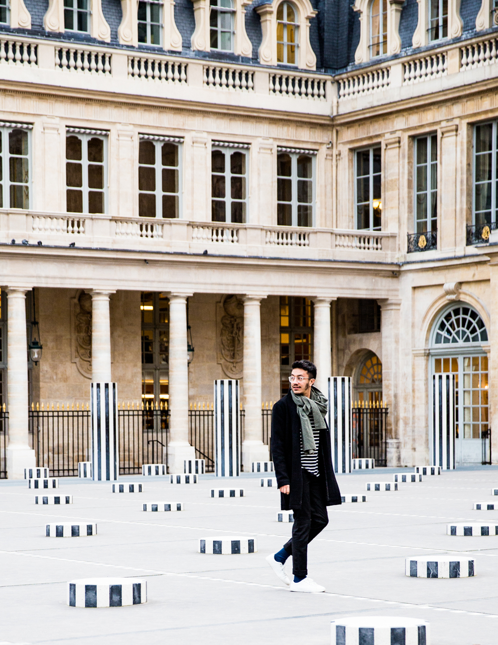 PALAIS- ROYAL   8 rue de Montpensier, 75001    INSIDER TIP  | Daniel Buren's columns are a draw for children who hop from one side of the space to the other and for adults, who quickly feel like they're part of a living work of art. On one side, you'll see the historic theater La Comédie Française and to the other, the Palais Royal gardens.     PHOTO TIP  | Key to getting the perfect shot at the Palais Royal is making sure you're positioned so that the lines of the columns and building intersect.