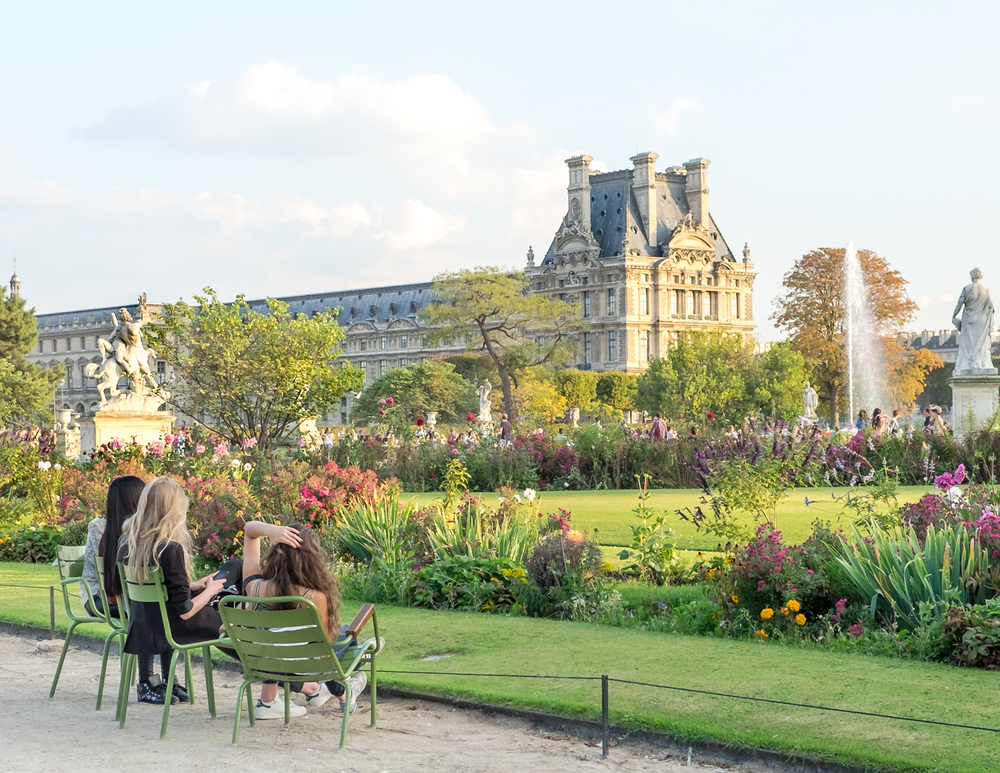 JARDIN DES TUILERIES  175001   INSIDER TIP  | There's something for everyone in the city's most central garden. Views of the Louvre, beautiful garden design, iconic green chairs for people-watching, and the perfect backdrop for a brisk walk or run.     PHOTO TIP  | Gardens are beautiful to shoot but here, the trick is to use the green chairs as a creative element. Play with their placement or photograph people taking it all in.