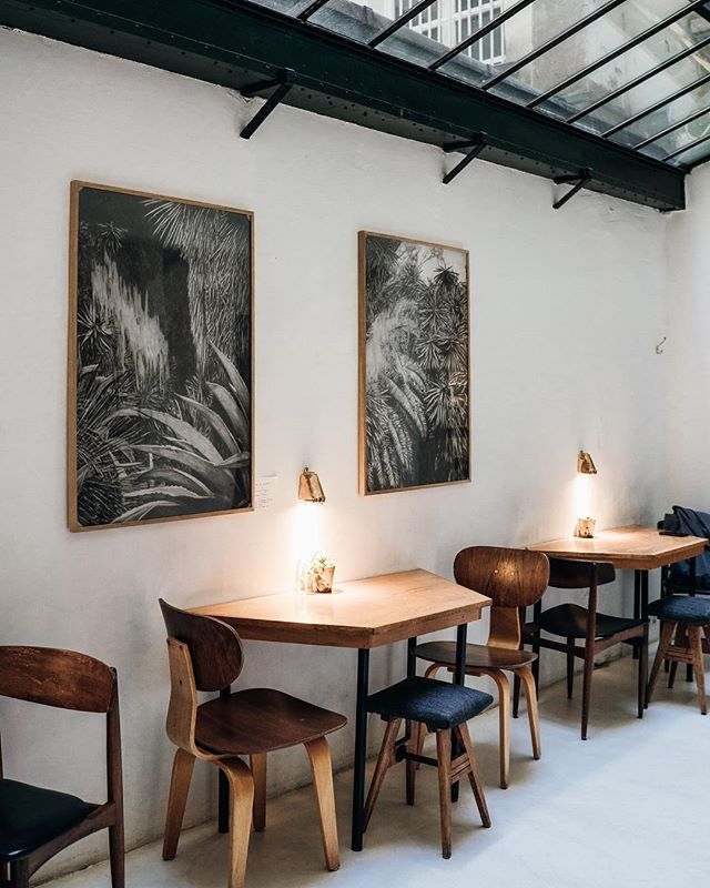 @cafeineko has all the right touches: craft coffee, healthy seasonal snacks and a space that could only exist in Paris. Hot spot: right under the skylight. #sliceofparis #cafelife #pariscafe #thenewparis #seemyparis