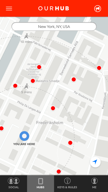 When you have signed in - a map like this will appear. You are the blue dot and the red dots are hub placements. Press on them to see what kind of hub it is (petanque/croquet etc). When you press it, it will show if it's booked or available.