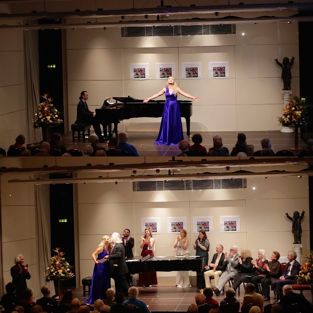 Being awarded First Prize and President's Prize from Sir John Tomlinson and Dame Gwyneth Jones at The Wagner Society Singing Competition