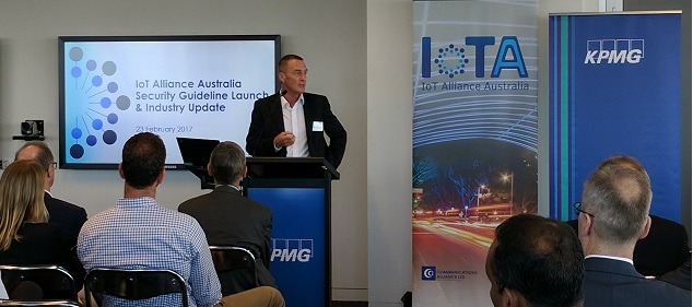 Gavin Smith, President and Chairman of Robert Bosch Australia, launches the IoTAA Security Guideline