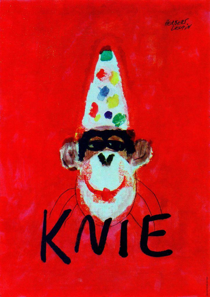 Herbert Leupin Knie Circus Monkey Poster Design