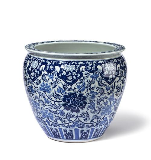 Blue White Chinese Fishbowl Planter Maurizio Pellizzoni