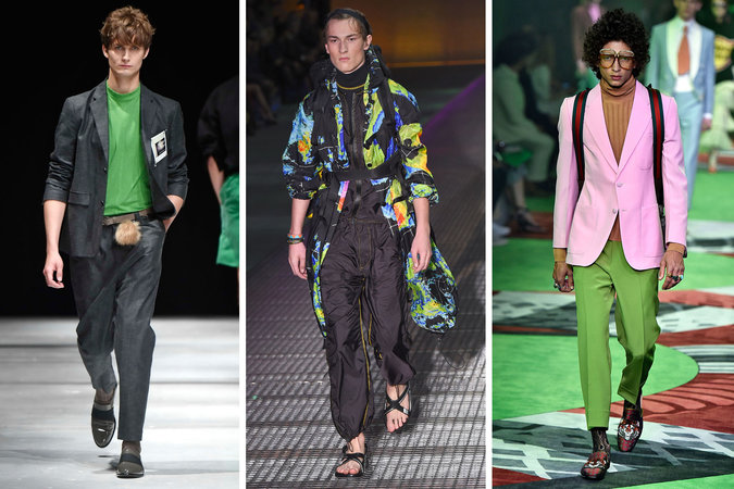 From left: Robert Geller, spring 2017; Prada, spring 2017; and Gucci, spring 2017.