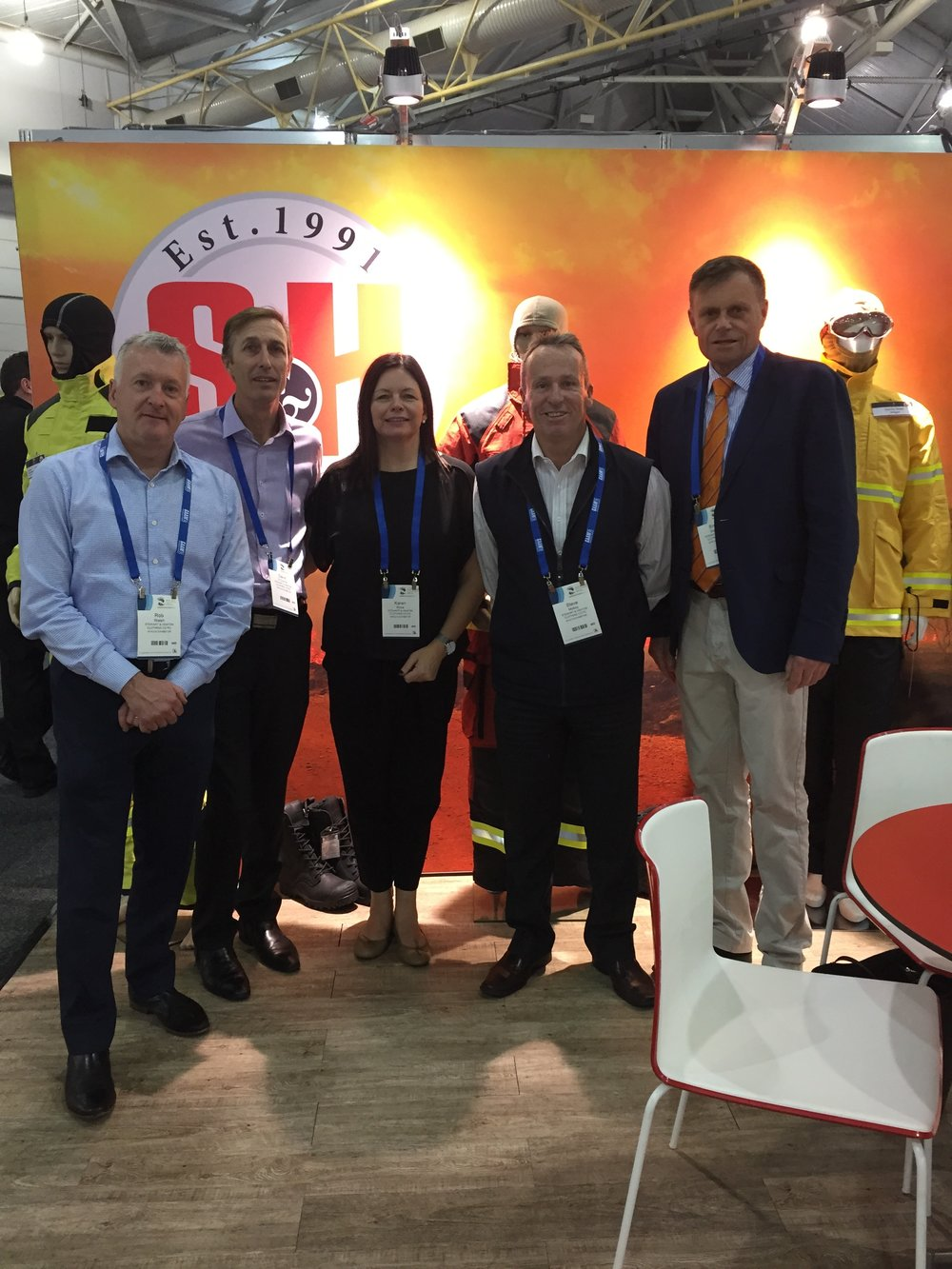 Exhibiting at AFAC16 in Brisbane | Left to right: Rob Walsh, David O'Connor, Karen Ross, Steve Molloy and Simon Stewart