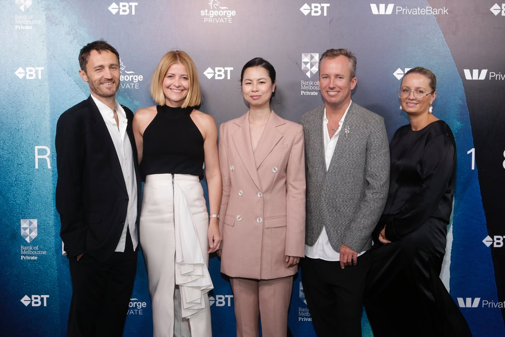 Finalists for the BT Emerging Fashion Designer Award | Michael Nolan & Toby Jones of Double Rainbouu, Anna Hoang of Anna Quan, and Marina Afonina of ALbus Lumen, with AFC Board Director and Editor-in-Chief of Harper's BAZAAR Australia, Kellie Hush.