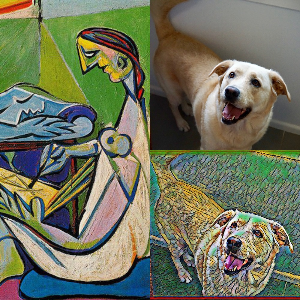 My dog Bella, recreated by my computer in the style of Picasso's La Muse.