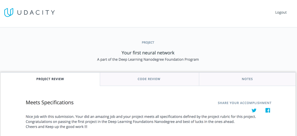 Passing my first Deep Learning project! :D
