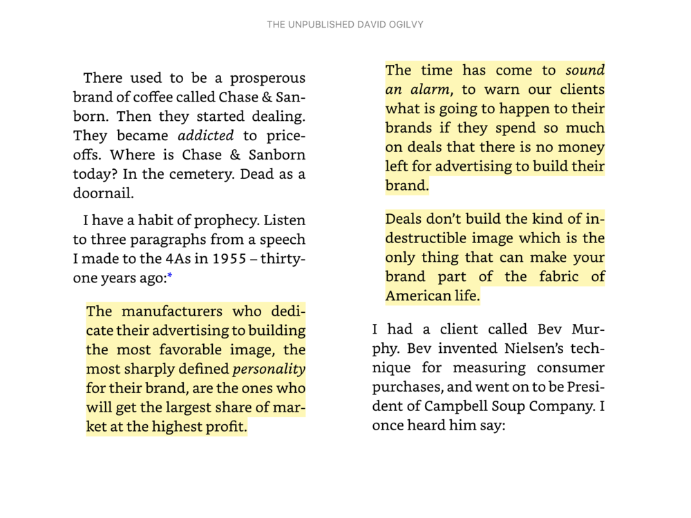 Excerpt from The Unpublished David Ogilvy.