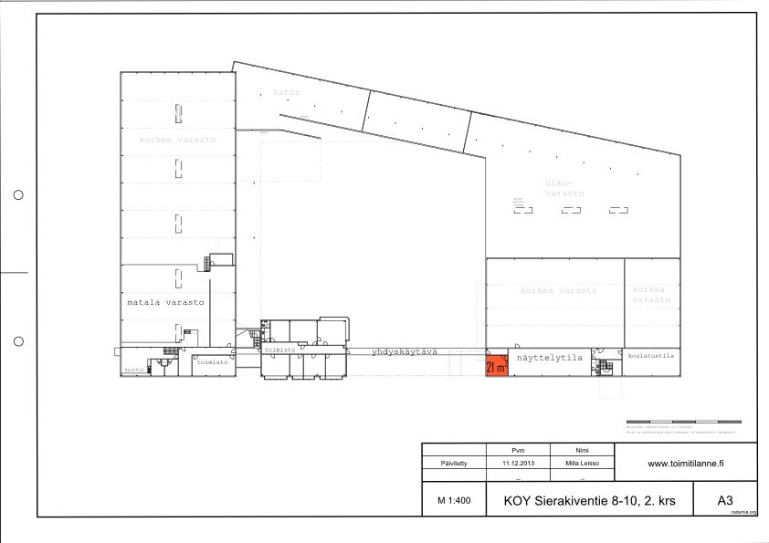 Toimitilanne Suomi, Espoo - Kauklahti, Sierakiventie 8-10, Toimistohuone 21 m²