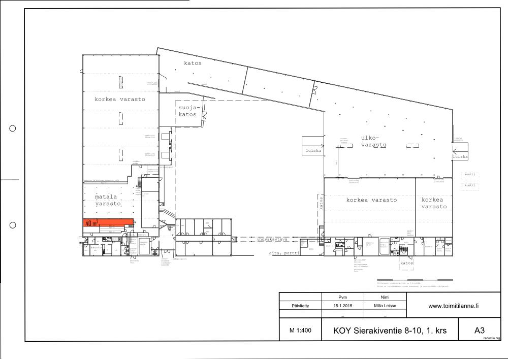 Toimitilanne Suomi, Espoo - Kauklahti, Sierakiventie 8-10, Varastotila 40 m²