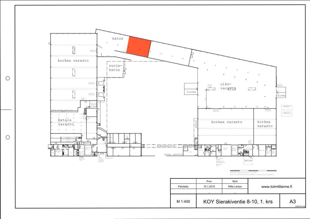 Toimitilanne Suomi, Espoo - Kauklahti, Sierakiventie 8-10, Katettu varastotila 110 m²