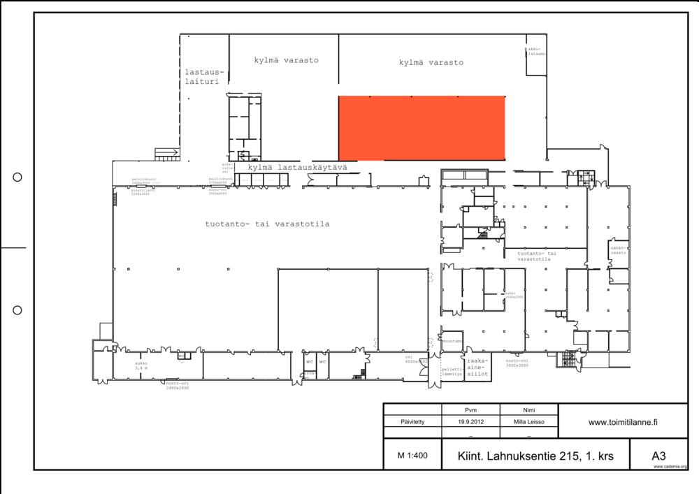 Toimitilanne Suomi, Nurmijärvi - Klaukkala, Lahnuksentie 215. Kylmä varastotila 620 m².