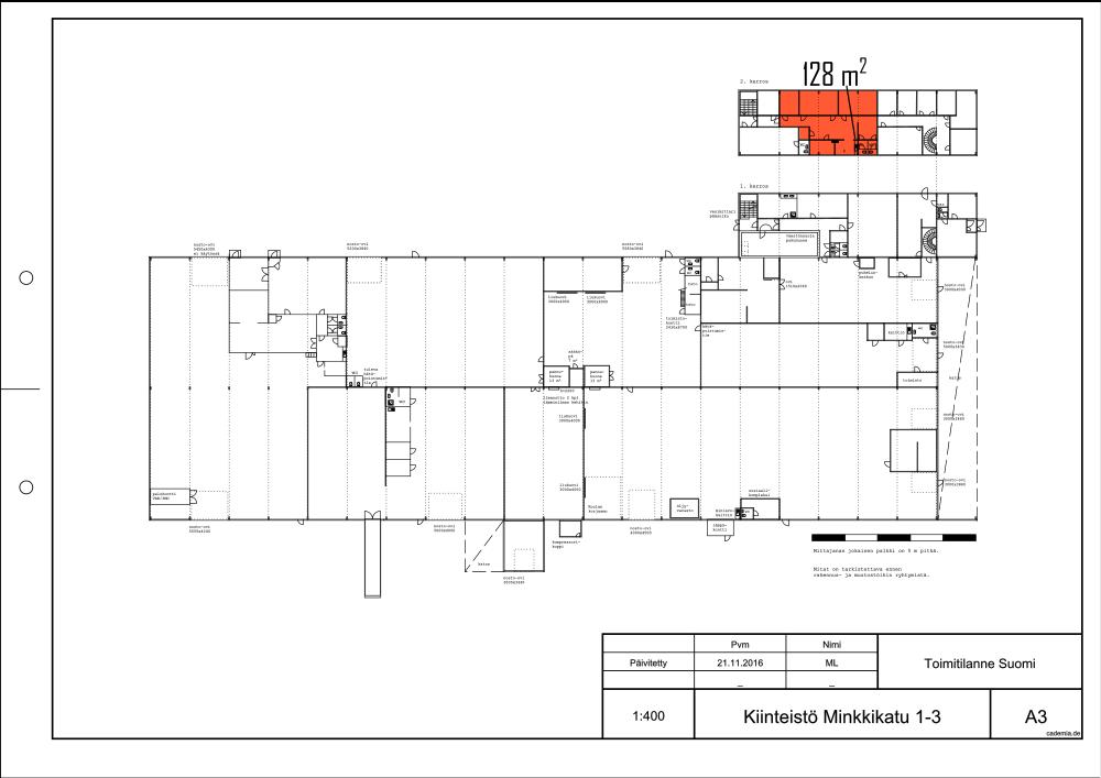 Minkkikatu 1-3. Toimistotila 128 m².