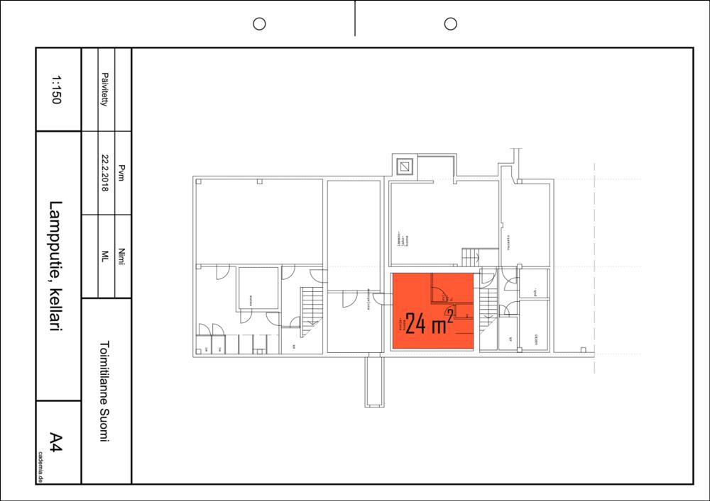 Toimitilanne Suomi, Helsinki - Suutarila, Lampputie 1. Varastohuone 24 m², pohjapiirros.