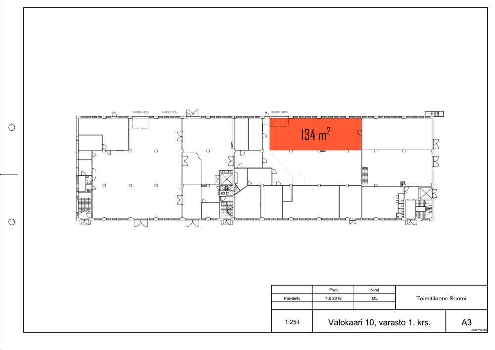 Toimitilanne Suomi, Helsinki - Suutarila, Valokaari 10. Tuotanto- tai varastotila 134 m². Pohjapiirros.