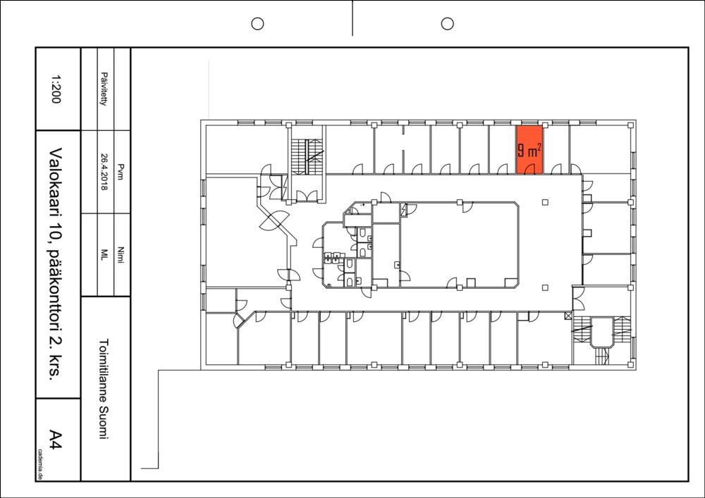 Toimitilanne Suomi, Helsinki - Suutarila, Valokaari 10. Toimisto- tai varastohuone 9 m². Pohjapiirros.