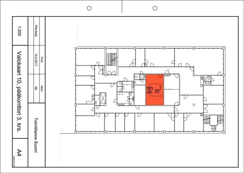 Toimitilanne Suomi, Helsinki - Suutarila, Valokaari 10. Toimistohuone 32 m². Pohjapiirros.