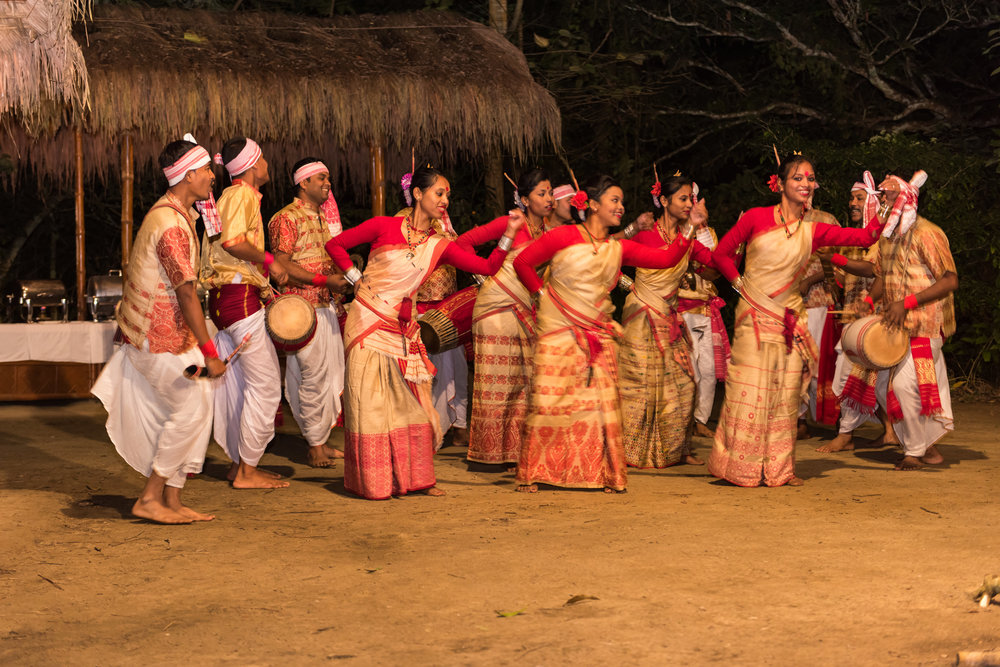 Assamese dancers performing the Bihu