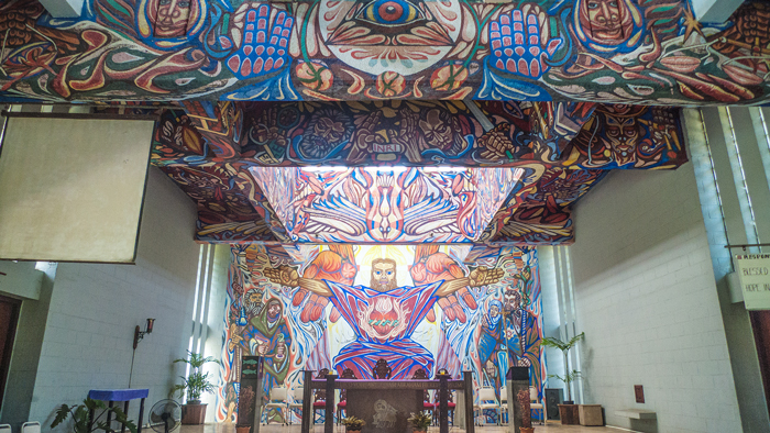 Alfonso Ossorio's mural inside the Church of the Angry Christ