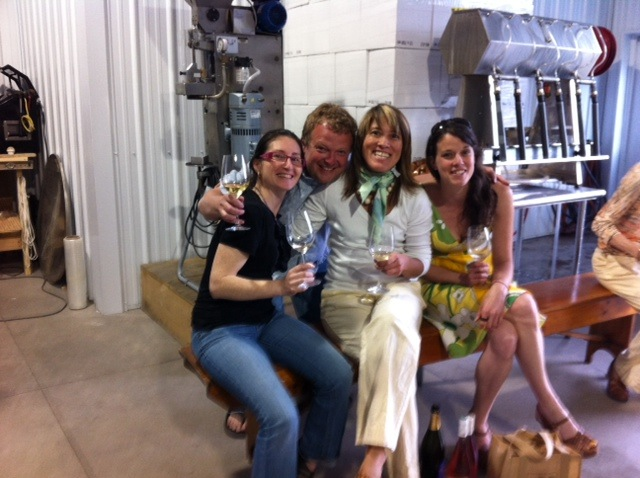 Tasting the Forge Cellars Riesling at Hector Wine Co. with past and present staff of Red Feet Wine Market