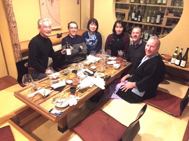 A picture of Louis sharing Forge wines in Japan. On the right of the picture is our dear friend, Rudi de Pins of Château Montfaucon.