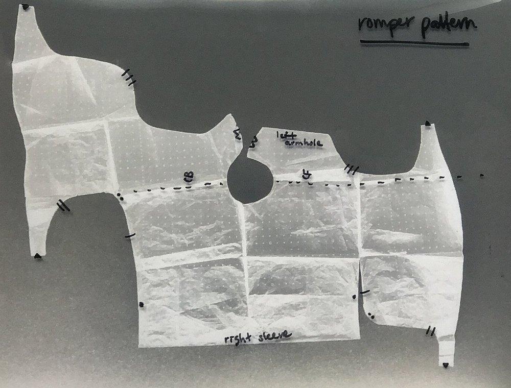 romper flat pattern + assembly key