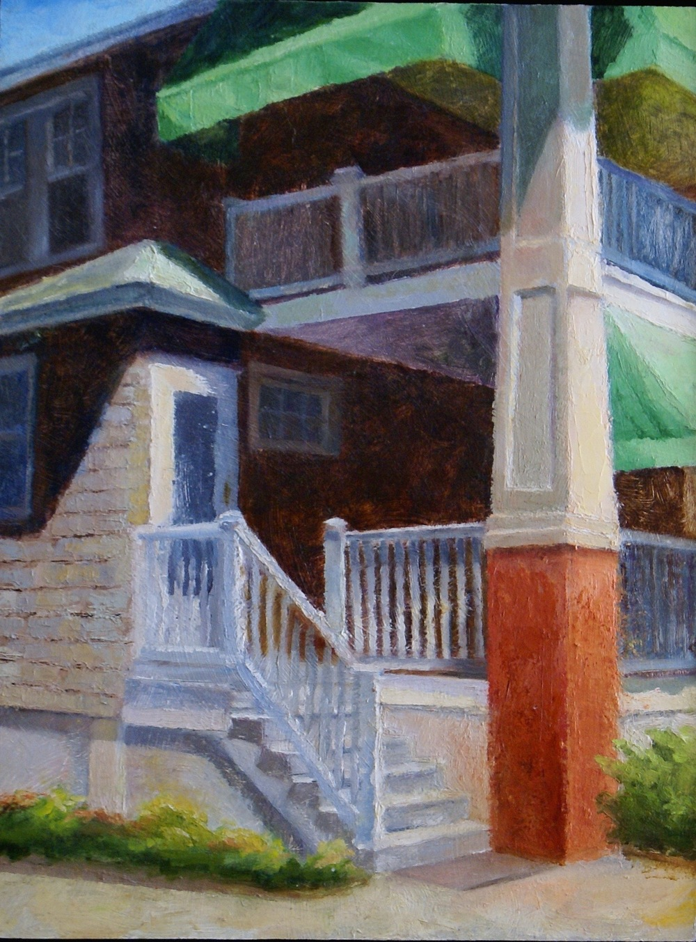 """Porch and Pillar, 2014    oil on wood panel -- 12"""" X 16""""    AVAILABLE"""