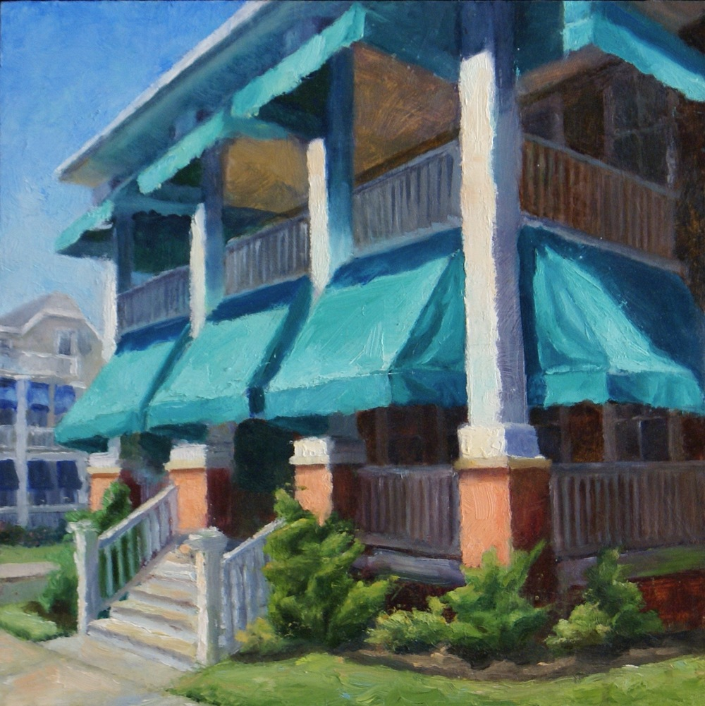 """Brighton Place Awnings, 2013    oil on wood panel -- 12"""" X 12""""    AVAILABLE"""