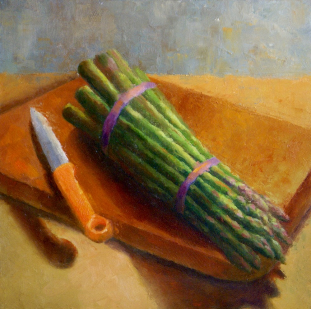 """Asparagus Bound, 2016    oil on wood panel -- 12"""" X 12""""    SOLD"""