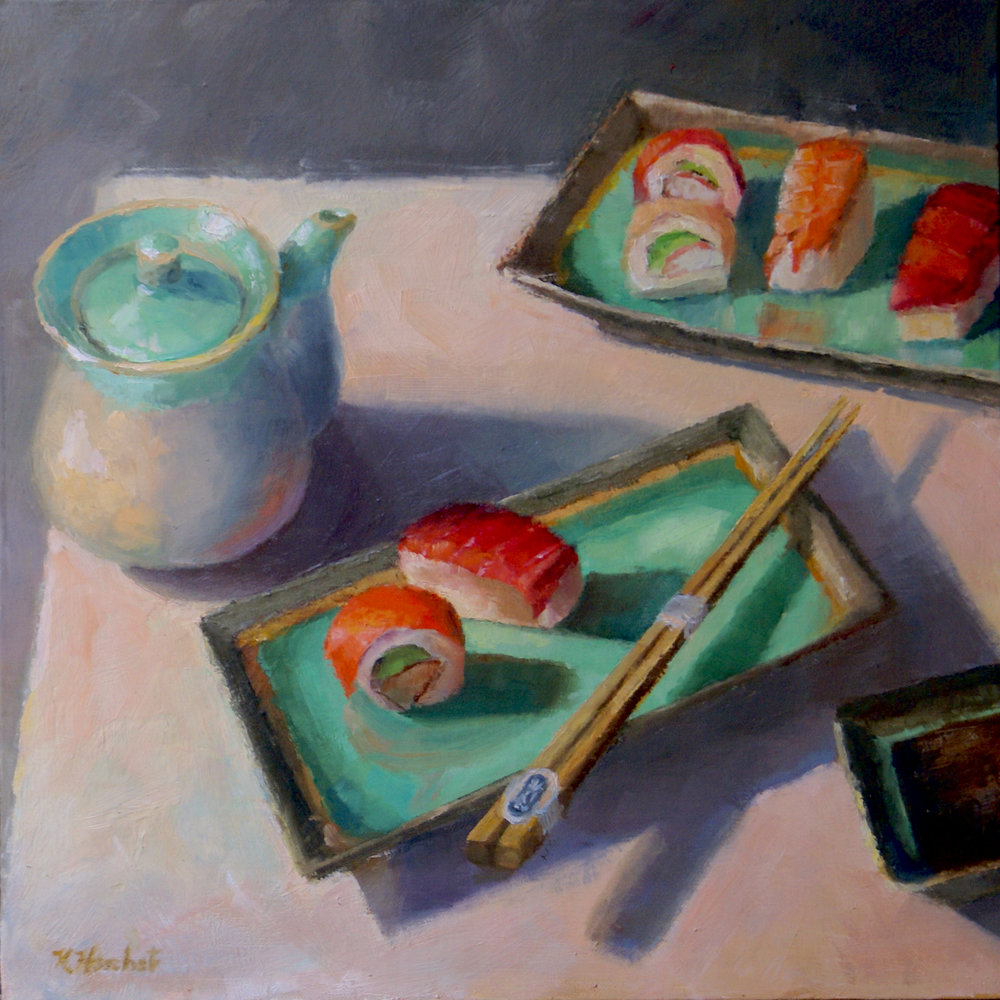 "I Dream of Sushi     12"" X 12,"" oil on linen panel    AVAILABLE -    Cerulean Arts, Philadelphia     Link to Cerulean Arts"