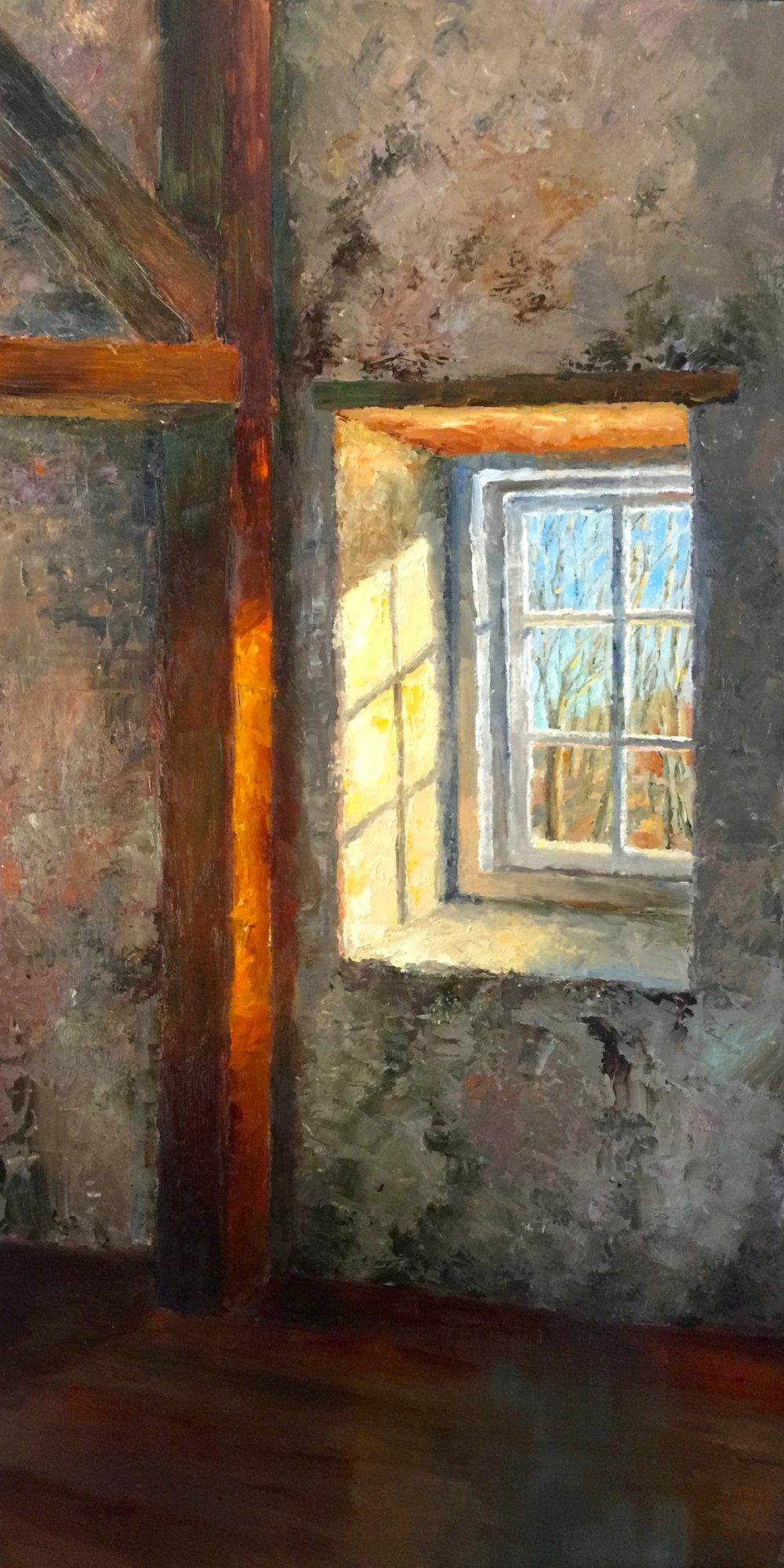 """Tyler Barn Window,  2018    12"""" X 24,"""" oil on hardboard    AVAILABLE - Station Gallery, Greenville, DE"""