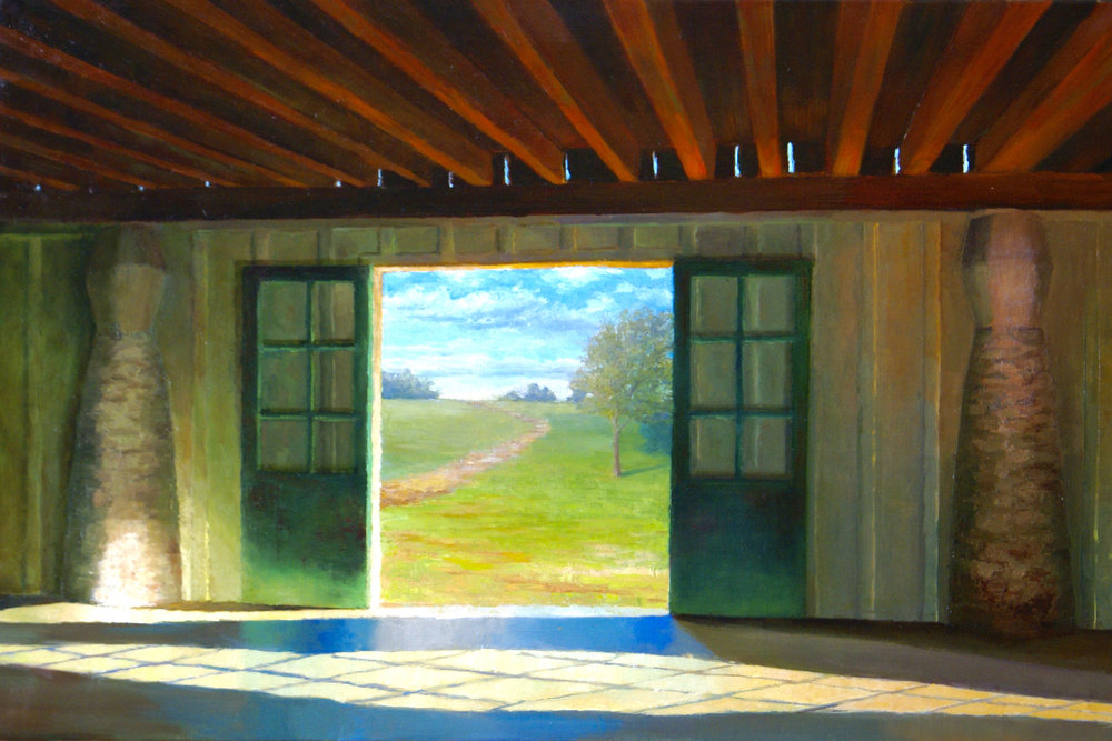 "The Doors are Open..., 2017      oil on linen 36"" X 24""      SOLD"