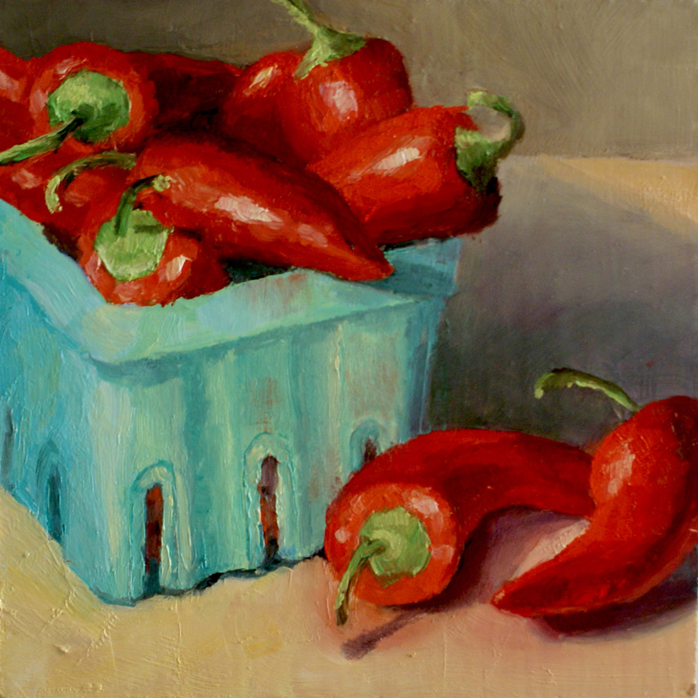 "Red Hot Chili Peppers     6"" X 6,"" oil on hardboard    SOLD"