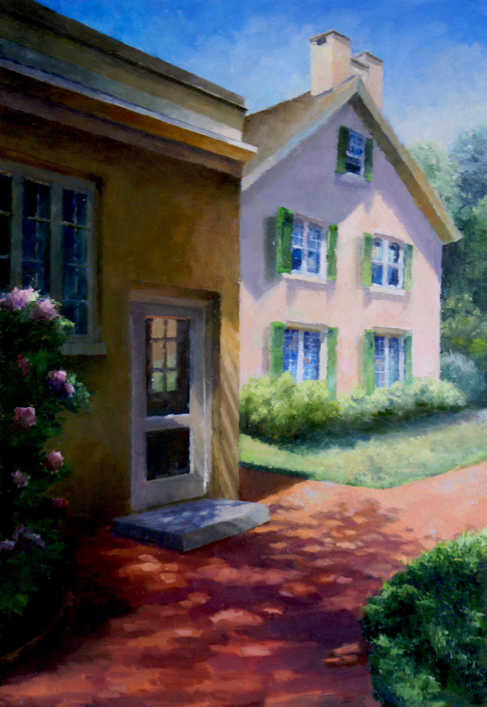 """Pierre's House, 2017     oil on birch panel, 14 1/2"""" X 21""""    AVAILABLE -    Cerulean Arts, Philadelphia      Link to Cerulean Arts"""